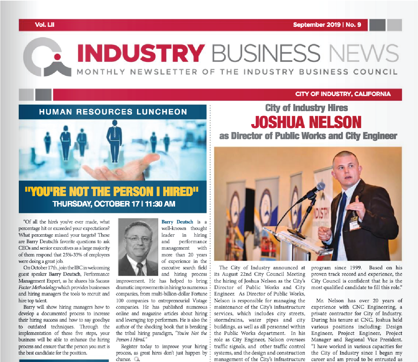 NEWSLETTER | 2019 September Industry Business News