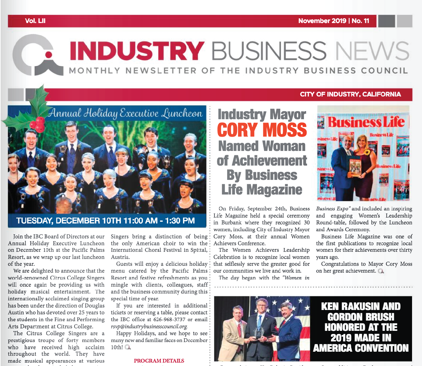 NEWSLETTER | 2019 November Industry Business News