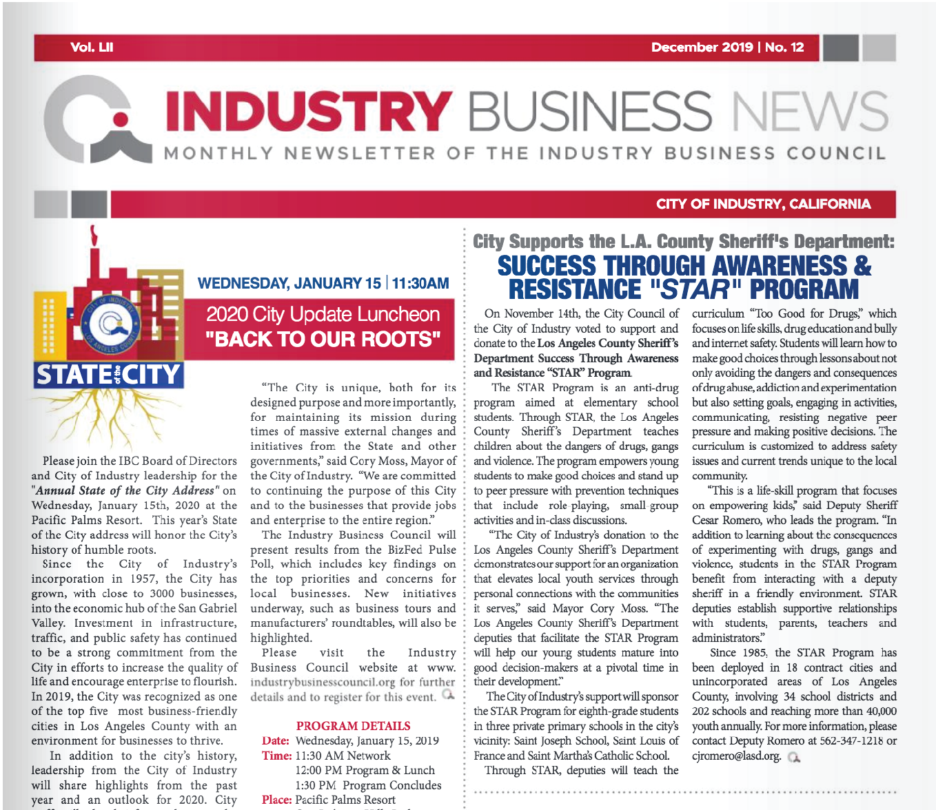 NEWSLETTER | 2019 December Industry Business News